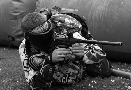 George Mason University's club paintball team in a huddle before a match.Photo By Ali Zaman.
