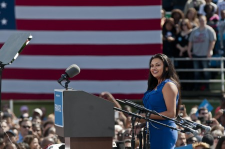 GMU student, Christine Gonzales sings at Obama rally