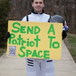 Graduate student, Kamil Stelmach, campaigning to go to space. Stelmach was seen wandering campus in an astronaut suit, asking people to vote for him to go to space camp. (Jenny Krashin/Broadside)