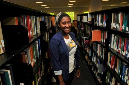 Krystal Thomas, pictured above in the Johnson Center, participated in the Undergraduate Research Scholars Program. (EVAN CANTWELL/CREATIVE SERVICES)